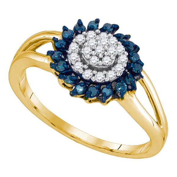 10kt Yellow Gold Womens Round Blue Color Enhanced Diamond Circle Frame Cluster Ring 1/4 Cttw
