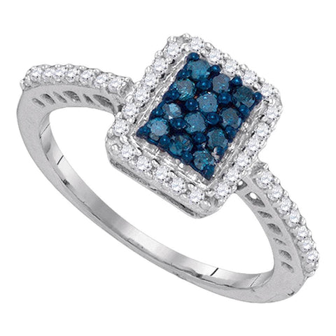 10kt White Gold Womens Round Blue Color Enhanced Diamond Rectangle Cluster Ring 3/8 Cttw