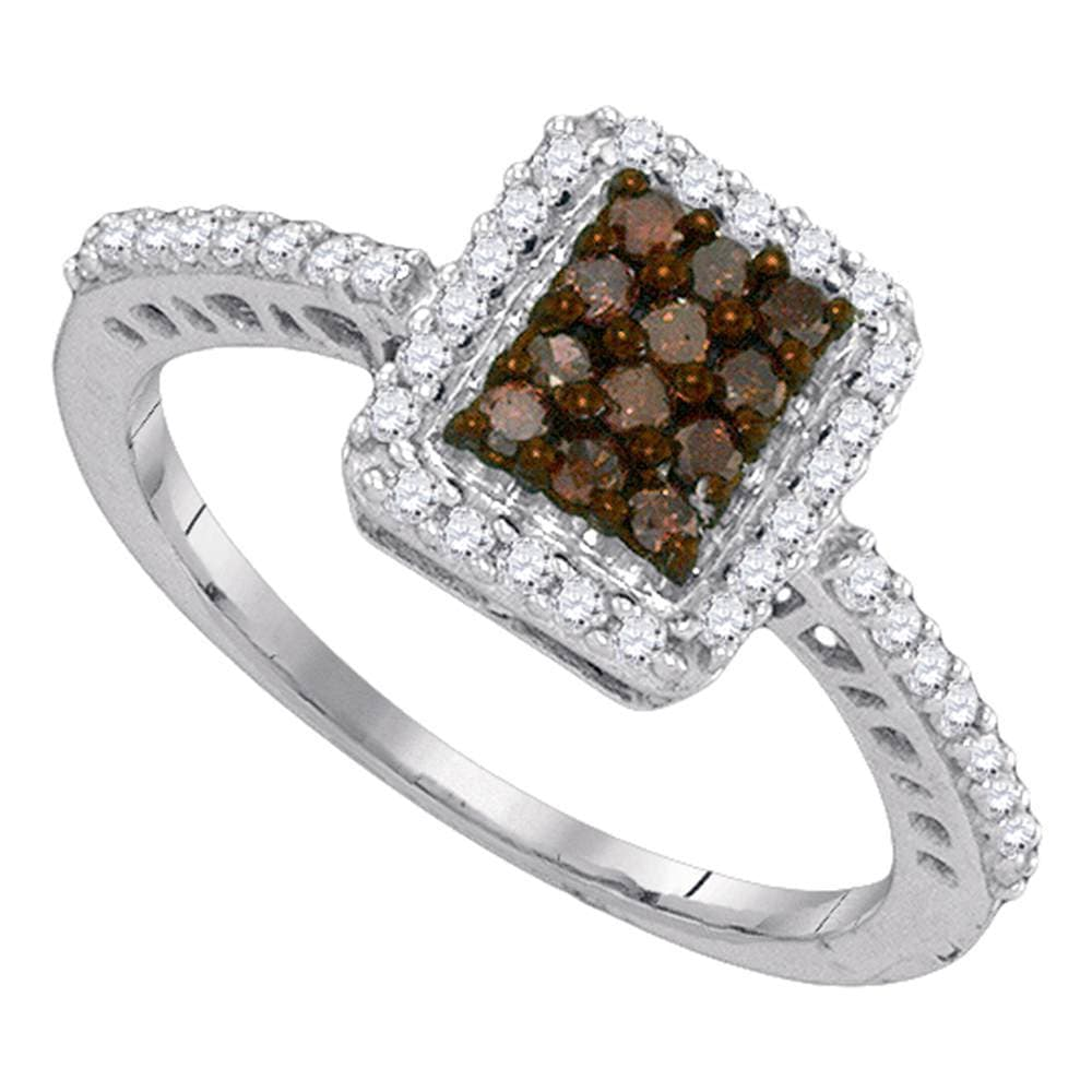 10kt White Gold Womens Round Cognac-brown Color Enhanced Diamond Rectangle Frame Cluster Ring 3/8 Cttw