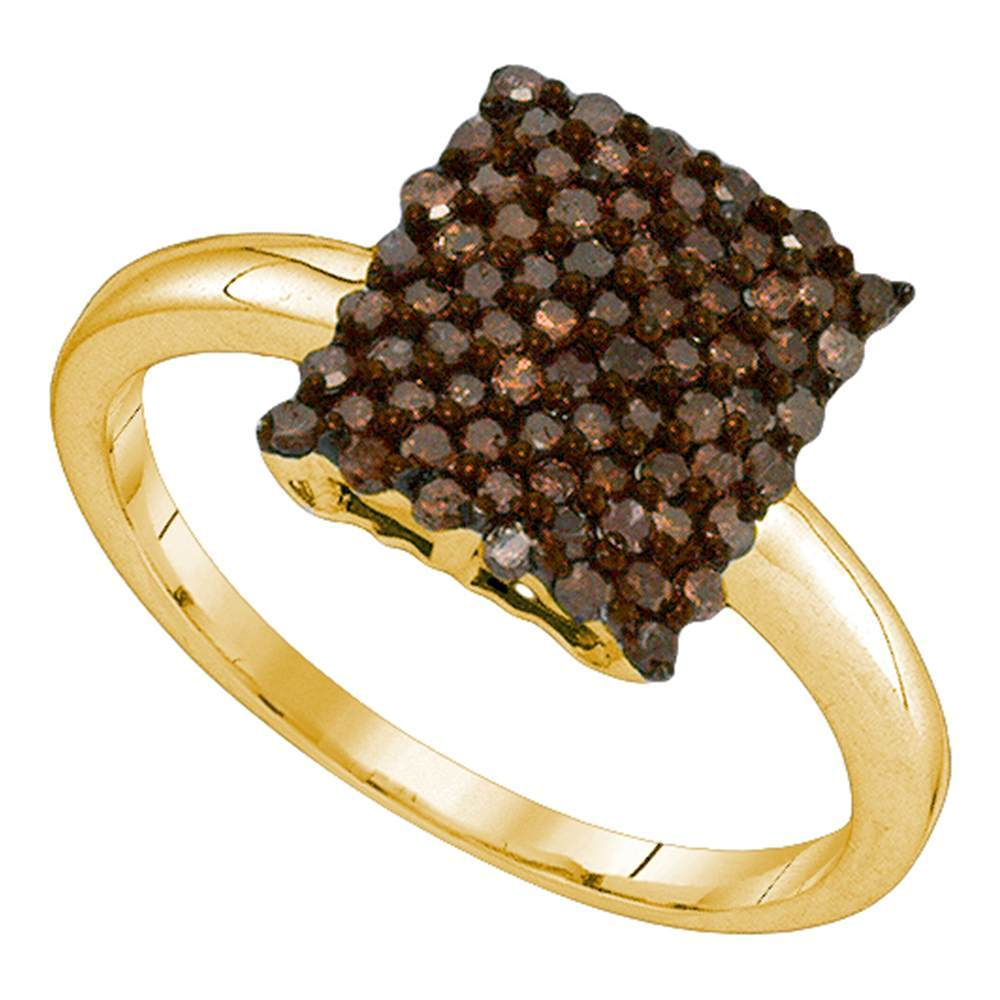 10kt Yellow Gold Womens Round Cognac-brown Color Enhanced Diamond Rectangle Cluster Ring 1/2 Cttw