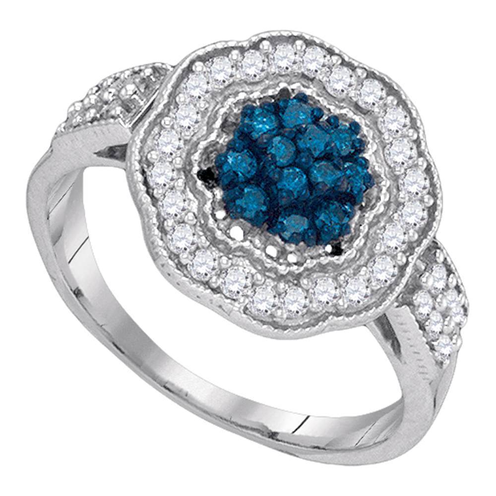 10kt White Gold Womens Round Blue Color Enhanced Diamond Octagon Frame Cluster Ring 1/2 Cttw