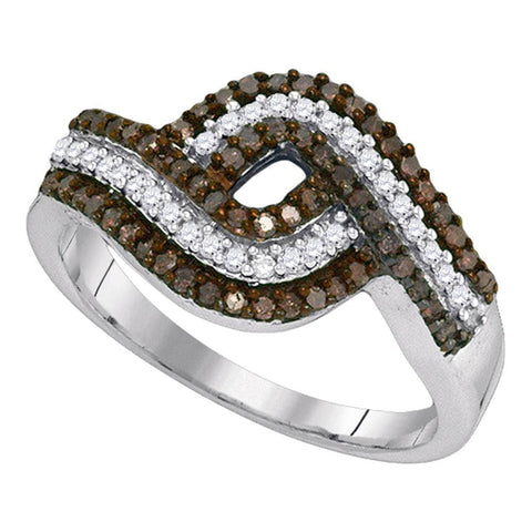 10kt White Gold Womens Round Brown Color Enhanced Diamond Band Ring 1/2 Cttw
