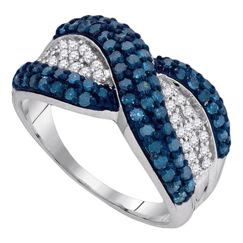 10kt White Gold Womens Round Blue Color Enhanced Diamond Crossover Twist Band 1.00 Cttw