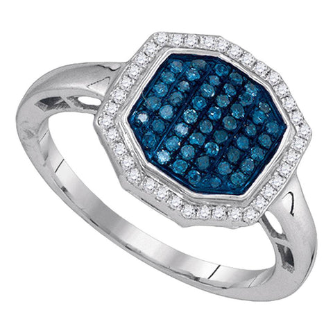 10kt White Gold Womens Round Blue Color Enhanced Diamond Octagon Geometric Cluster Ring 1/3 Cttw