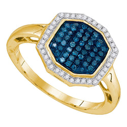 10kt Yellow Gold Womens Round Blue Color Enhanced Diamond Octagon Geometric Cluster Ring 1/3 Cttw