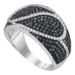 10kt White Gold Womens Round Black Color Enhanced Diamond Stripe Band Ring 1-1/10 Cttw