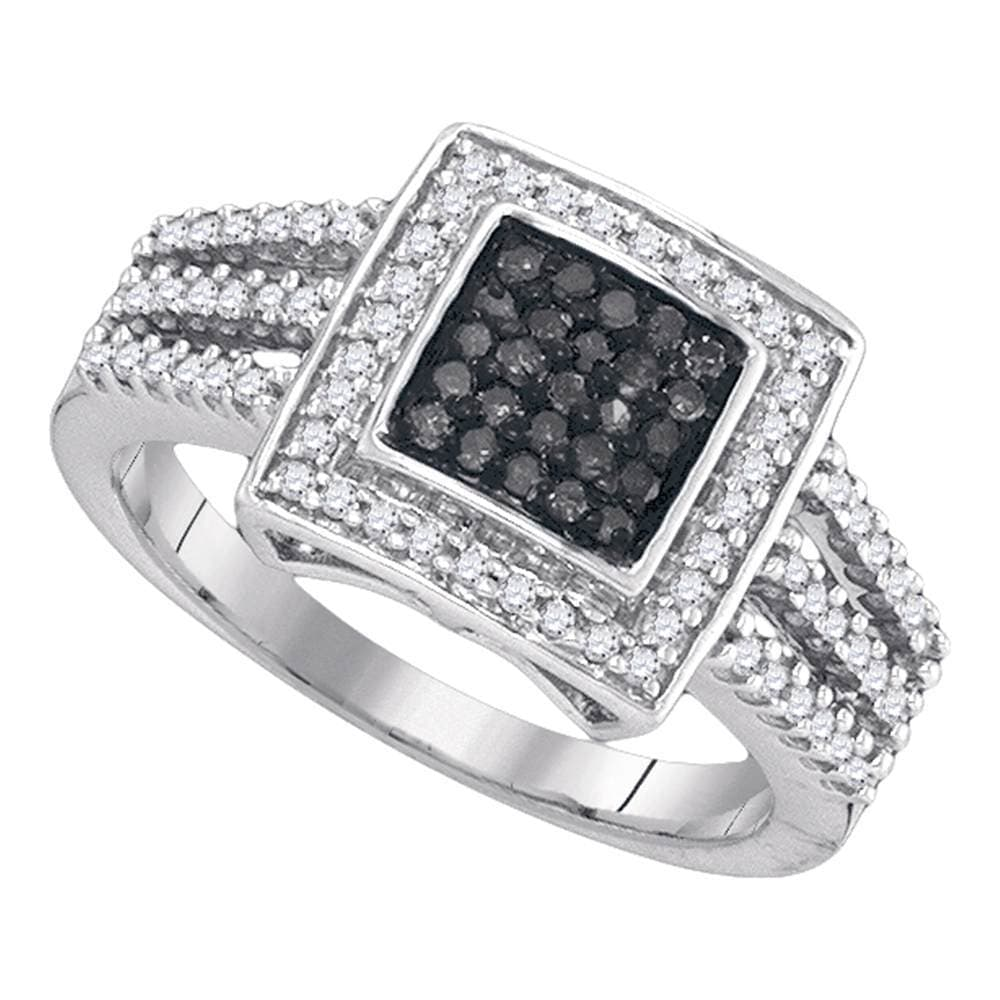 10kt White Gold Womens Round Black Color Enhanced Diamond Square Frame Cluster Ring 1/2 Cttw
