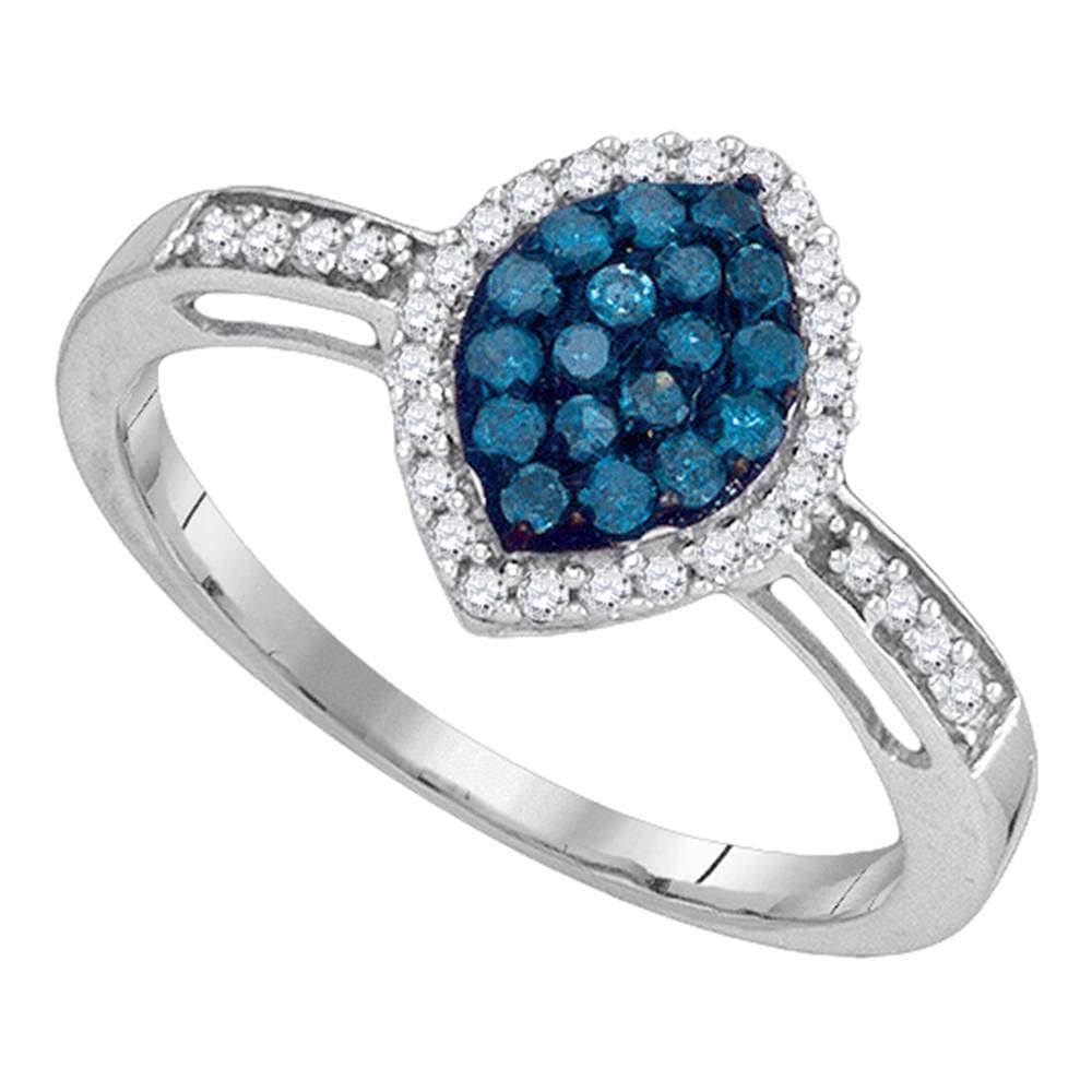 10kt White Gold Womens Round Blue Color Enhanced Diamond Oval Frame Cluster Ring 1/3 Cttw