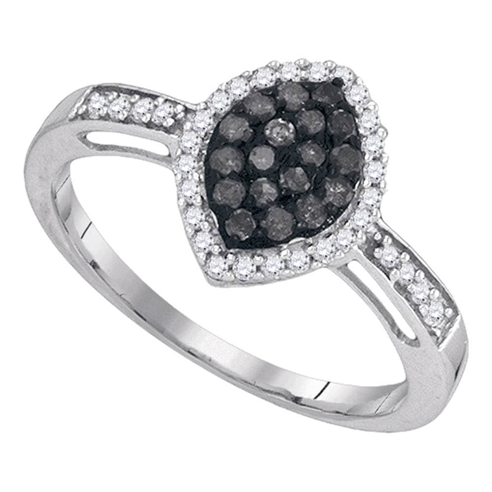 10kt White Gold Womens Round Black Color Enhanced Diamond Oval Frame Cluster Ring 1/3 Cttw