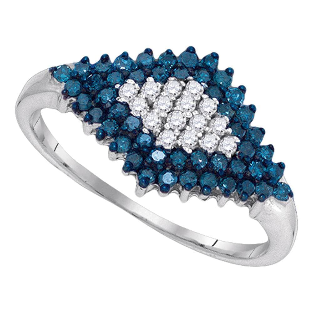 10kt White Gold Womens Round Blue Color Enhanced Diamond Symmetrical Cluster Ring 1/2 Cttw