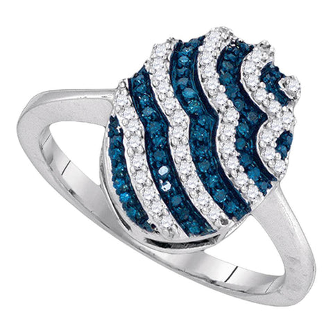 10kt White Gold Womens Round Blue Color Enhanced Natural Diamond Oval Stripe Cluster Ring 1/3 Cttw