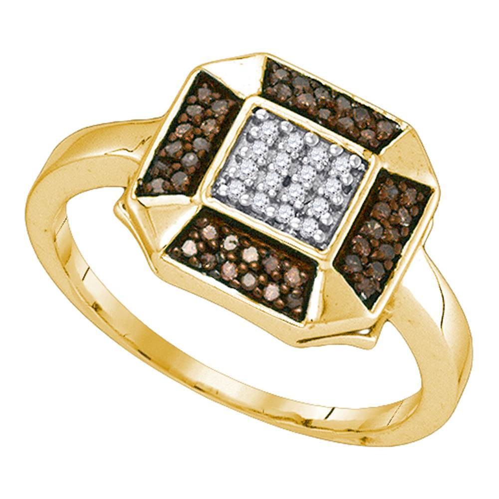 10kt Yellow Gold Womens Round Cognac-brown Color Enhanced Diamond Square Cluster Ring 1/5 Cttw