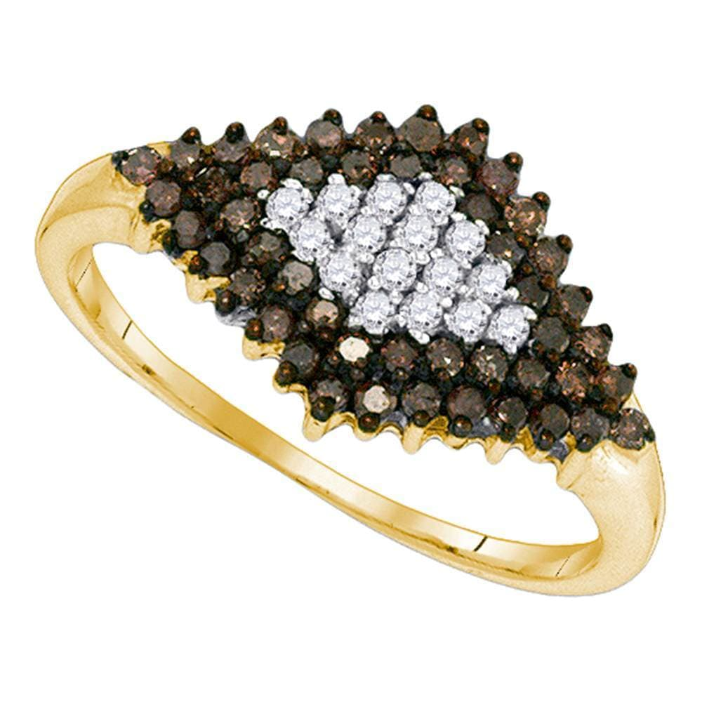 10kt Yellow Gold Womens Round Cognac-brown Color Enhanced Diamond Frame Cluster Ring 1/2 Cttw