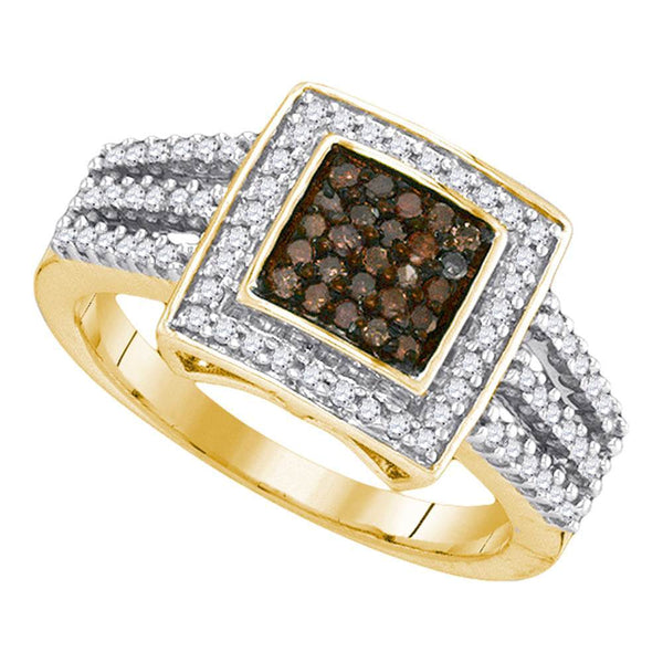 10kt Yellow Gold Womens Round Cognac-brown Color Enhanced Diamond Square Cluster Ring 1/2 Cttw