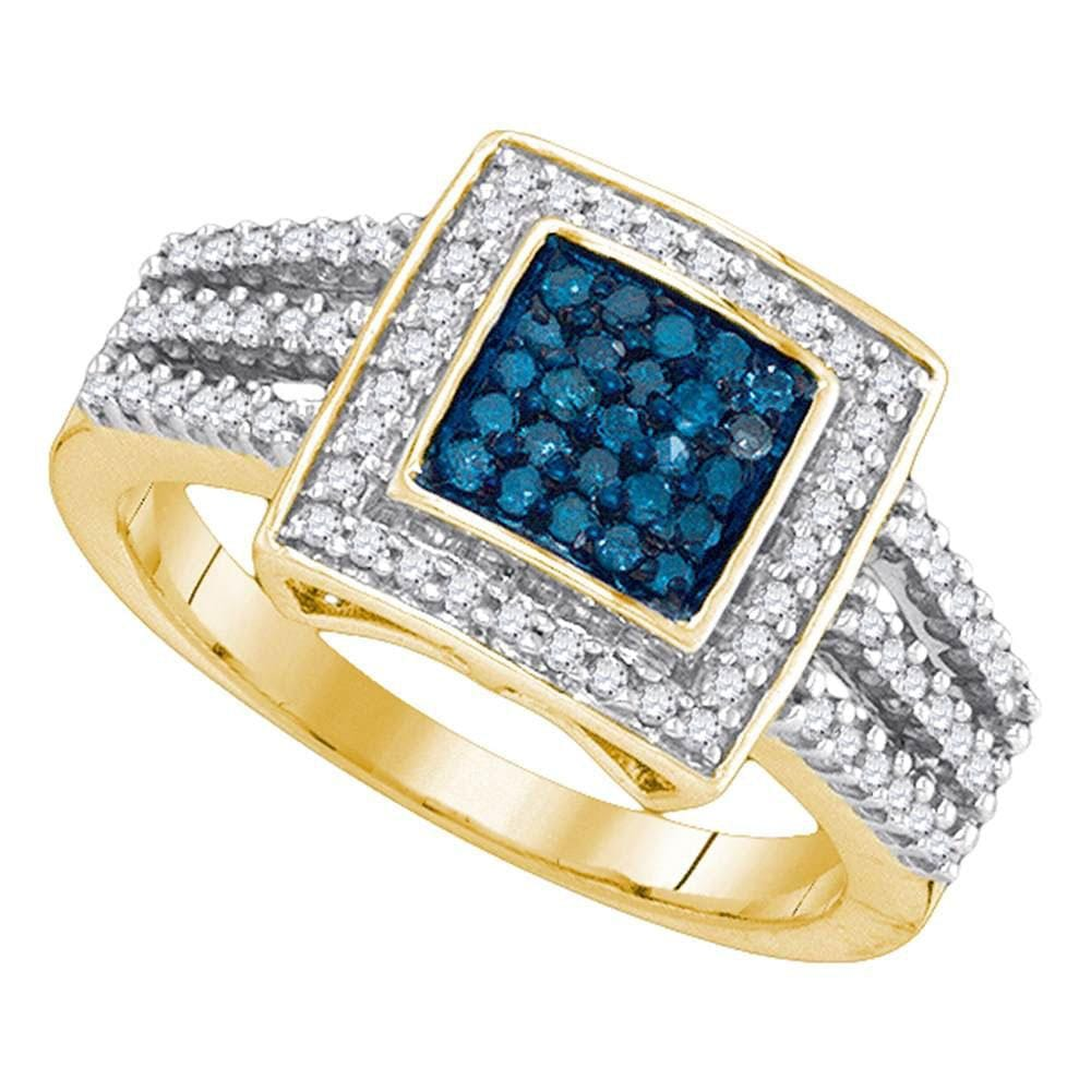 10kt Yellow Gold Womens Round Blue Color Enhanced Diamond Square Cluster Open Shank Ring 1/2 Cttw