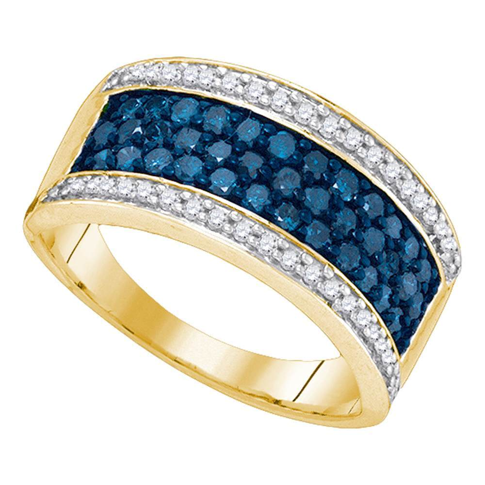 10kt Yellow Gold Womens Round Blue Color Enhanced Diamond Triple Stripe Band 1.00 Cttw