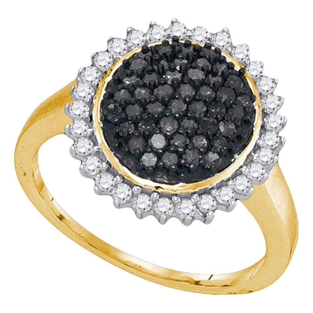 10kt Yellow Gold Womens Round Black Color Enhanced Diamond Framed Cluster Ring 3/4 Cttw