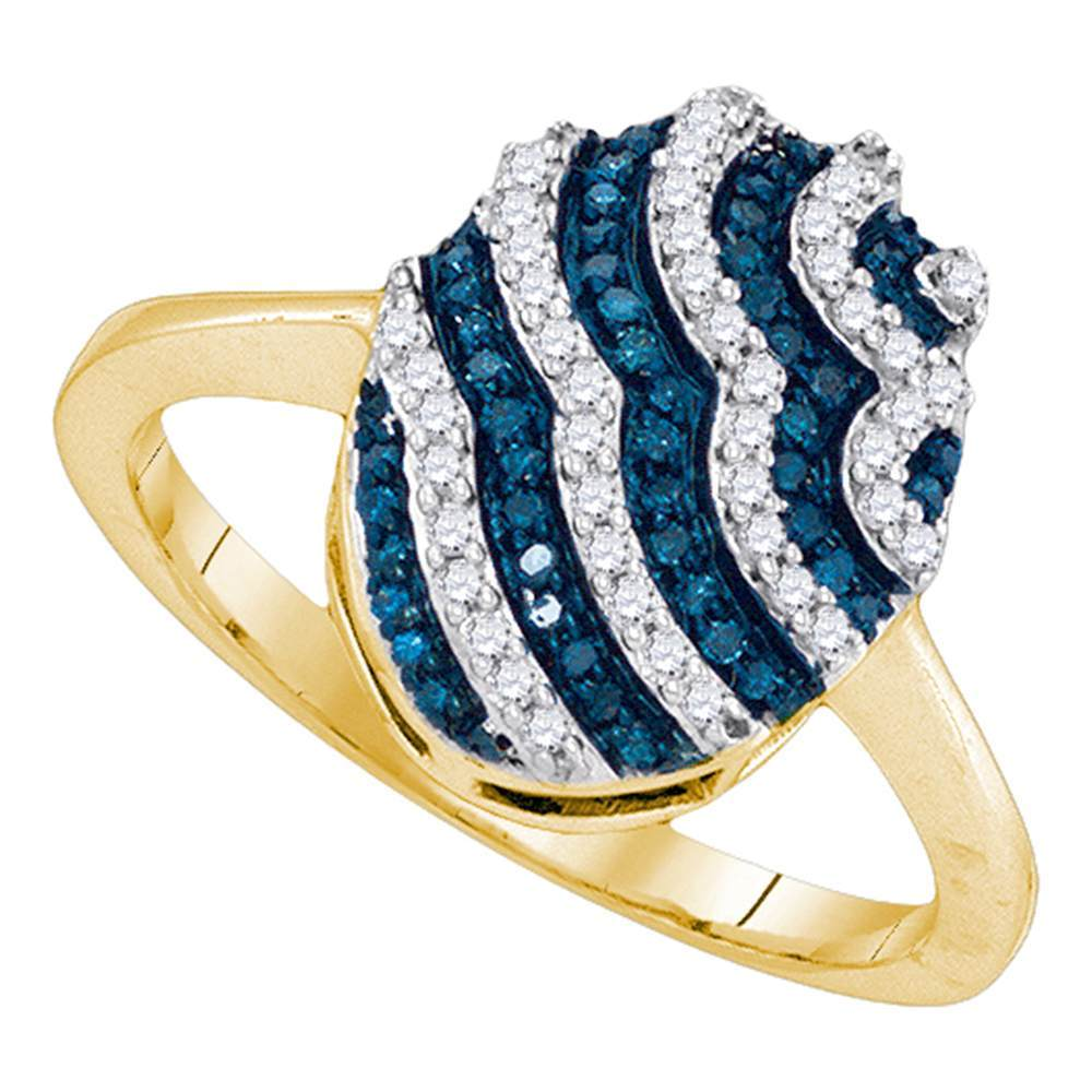 10kt Yellow Gold Womens Round Blue Color Enhanced Diamond Oval Stripe Cluster Ring 1/3 Cttw