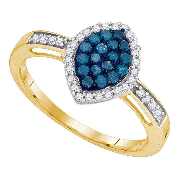10kt Yellow Gold Womens Round Blue Color Enhanced Diamond Oval Frame Cluster Ring 1/3 Cttw