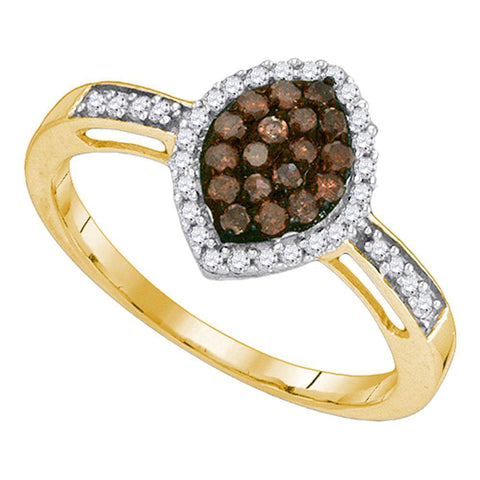 10kt Yellow Gold Womens Round Cognac-brown Color Enhanced Diamond Oval Frame Cluster Ring 1/3 Cttw