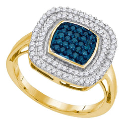 10kt Yellow Gold Womens Round Blue Color Enhanced Diamond Square Frame Cluster Ring 1/2 Cttw