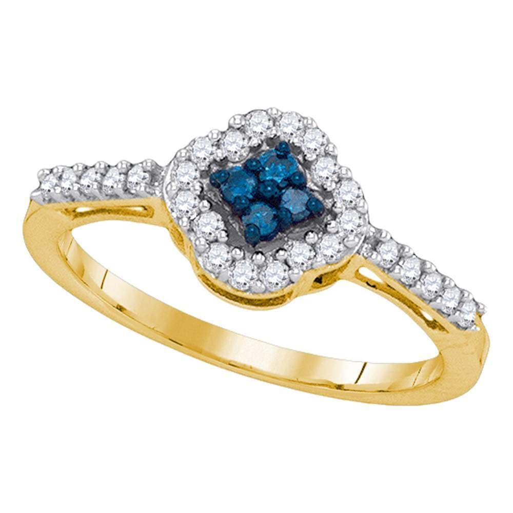 10kt Yellow Gold Womens Round Blue Color Enhanced Diamond Diagonal Square Cluster Ring 1/3 Cttw