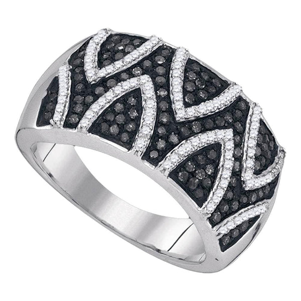 Sterling Silver Womens Round Black Color Enhanced Diamond Striped Band Ring 5/8 Cttw