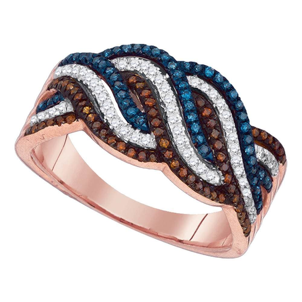 10kt Rose Gold Womens Round Red Blue Color Enhanced Diamond Cascading Band Ring 3/8 Cttw