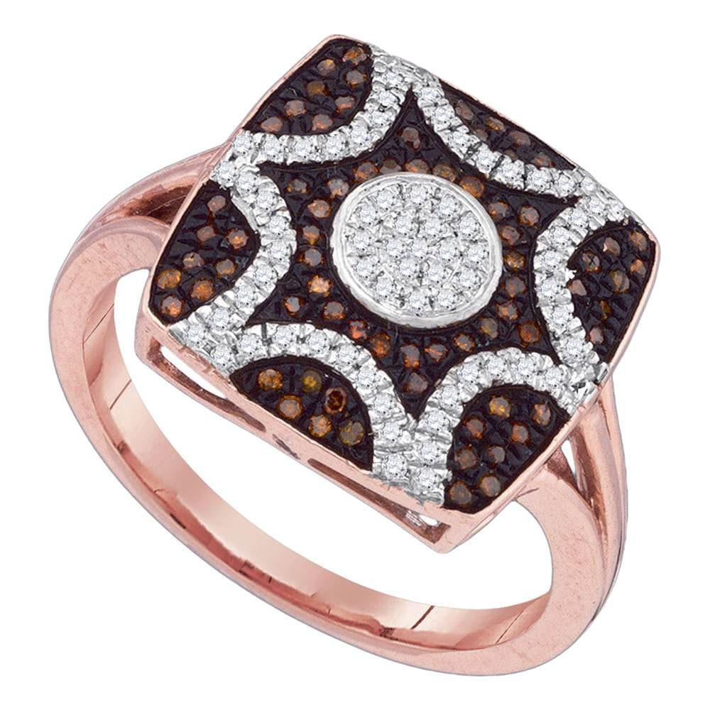 10kt Rose Gold Womens Round Red Color Enhanced Diamond Starburst Ring 1/3 Cttw