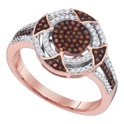 10kt Rose Gold Womens Round Red Color Enhanced Diamond Circle Cluster Ring 1/3 Cttw