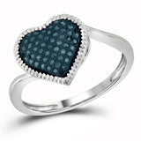 10kt White Gold Womens Round Blue Color Enhanced Diamond Milgrain Heart Cluster Ring 1/6 Cttw