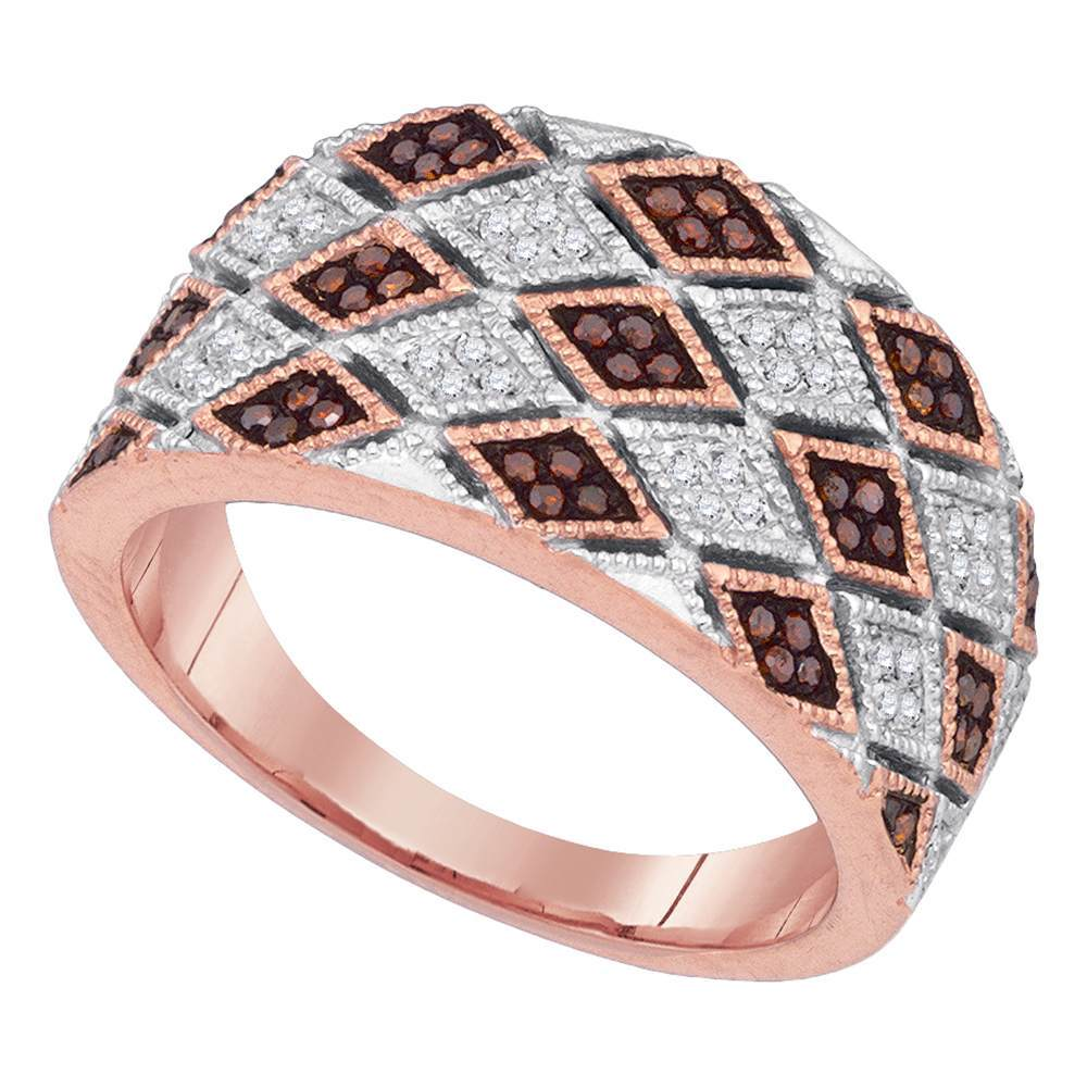 10kt Rose Gold Womens Round Red Color Enhanced Diamond Diagonal Square Ring 1/5 Cttw