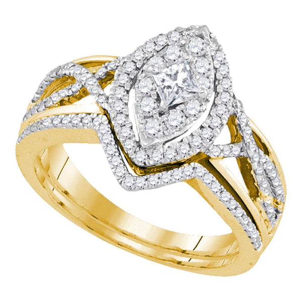 14kt Yellow Gold Womens Princess Diamond Oval Bridal Wedding Engagement Ring Band Set 7/8 Cttw
