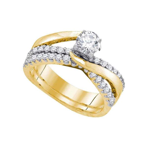 14kt Yellow Gold Womens Round Diamond Elevated Bridal Wedding Engagement Ring Band Set 1.00 Cttw