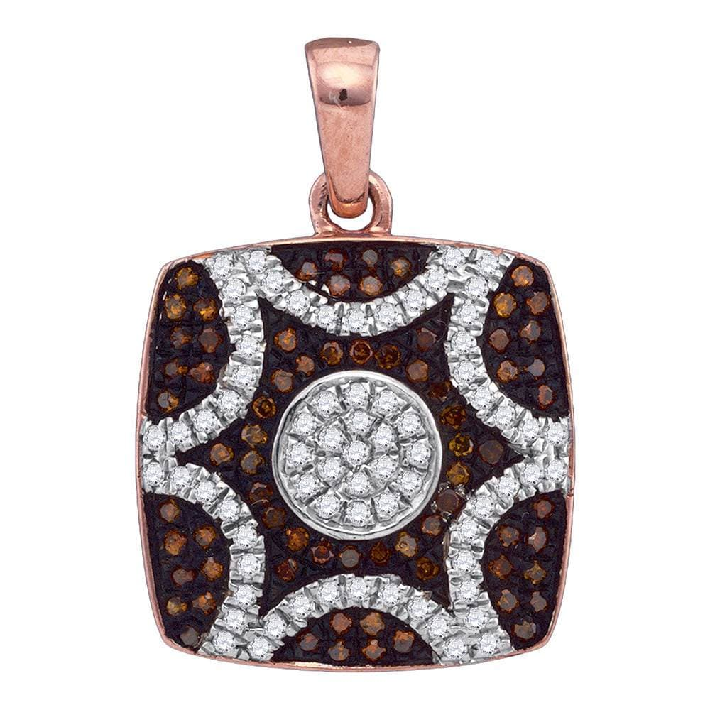 10kt Rose Gold Womens Round Red Color Enhanced Diamond Square Starburst Pendant 1/3 Cttw