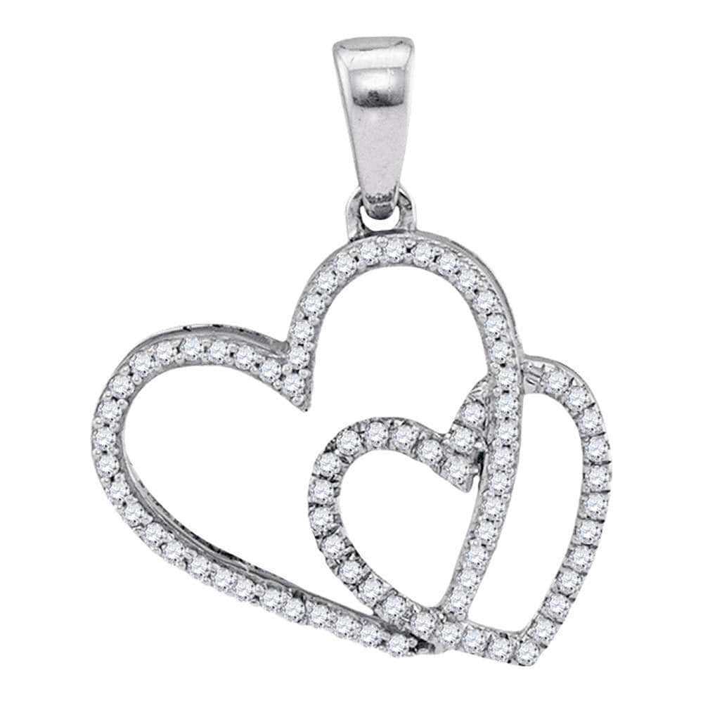 10kt White Gold Womens Round Diamond Double Heart Love Pendant 1/5 Cttw
