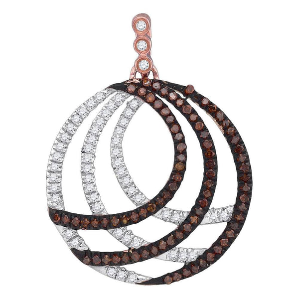 10kt Rose Gold Womens Round Red Color Enhanced Diamond Stripe Circle Pendant 3/8 Cttw
