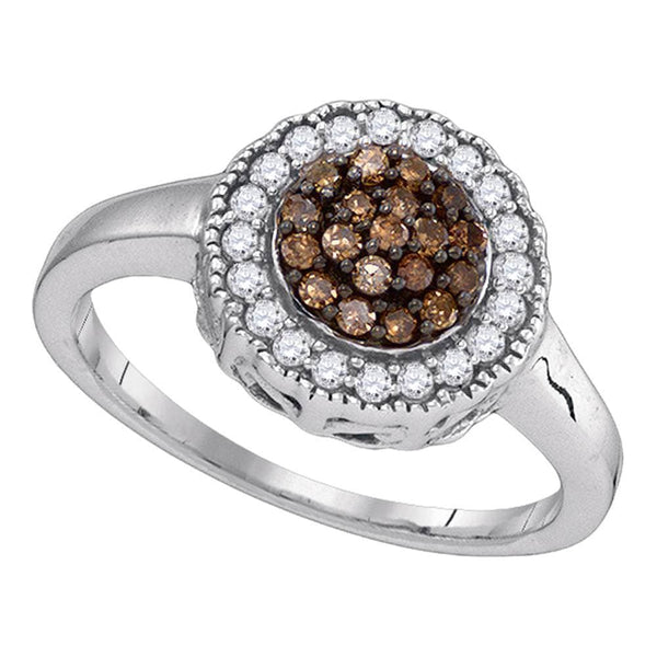 Sterling Silver Womens Round Cognac-brown Color Enhanced Natural Diamond Cluster Ring 1/3 Cttw