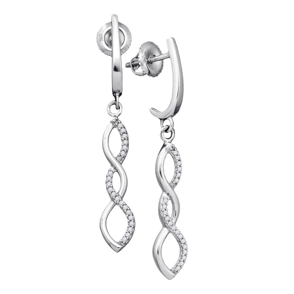 10kt White Gold Womens Round Diamond Infinity Dangle Earrings 1/8 Cttw