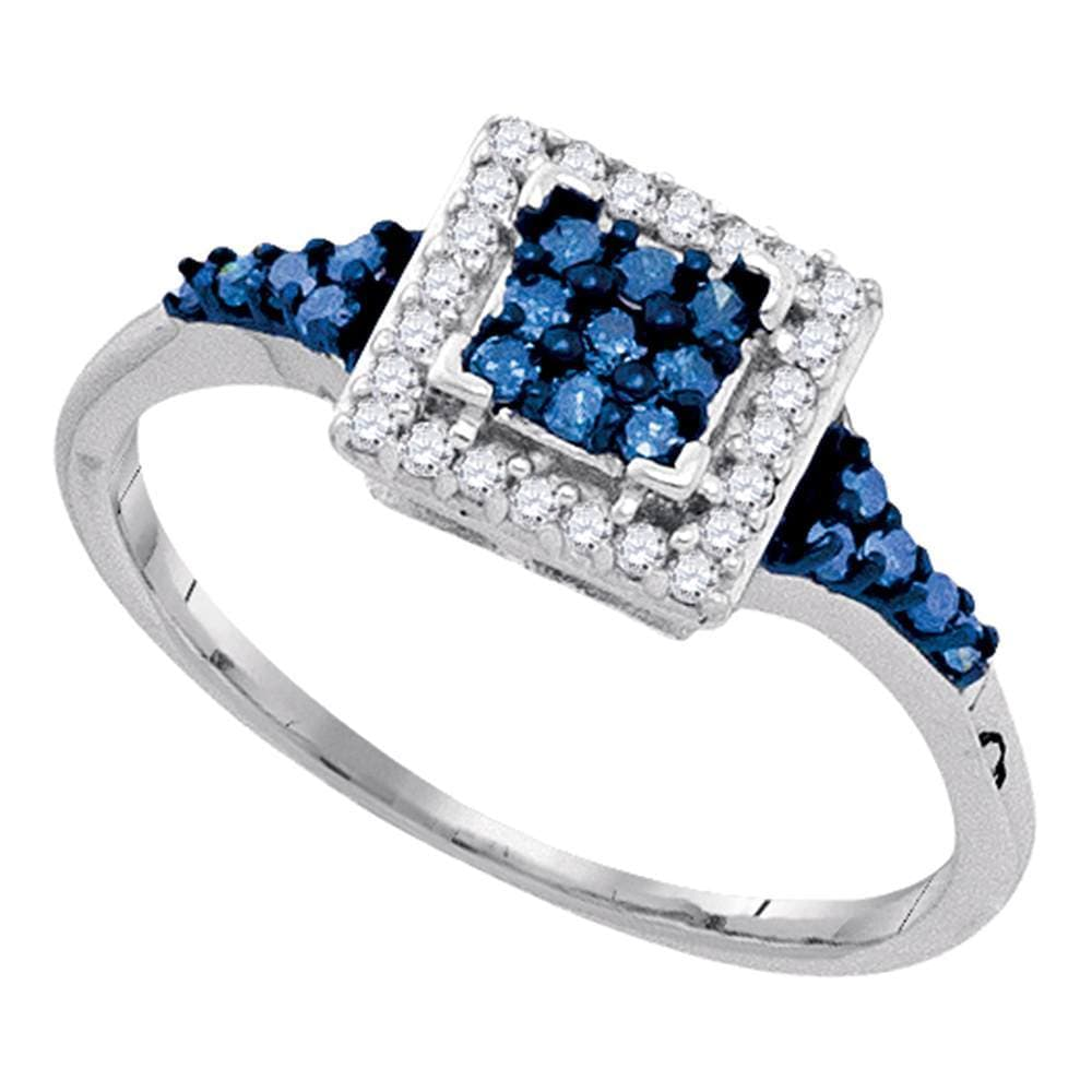 Sterling Silver Womens Round Blue Color Enhanced Diamond Square Cluster Ring 1/3 Cttw