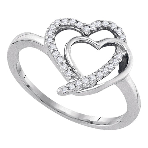 Sterling Silver Womens Round Diamond Double Joined Heartss Love Ring 1/6 Cttw