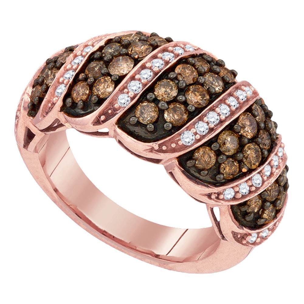 10kt Rose Gold Womens Round Brown Color Enhanced Diamond Cascading Band Ring 1-1/2 Cttw
