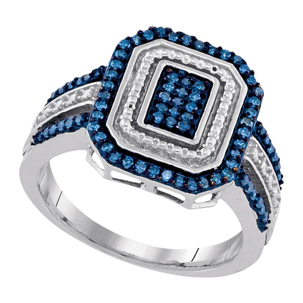 10kt White Gold Womens Round Blue Color Enhanced Diamond Rectangle Cluster Ring 1/3 Cttw