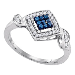 10kt White Gold Womens Round Blue Color Enhanced Diamond Diagonal Square Cluster Ring 1/4 Cttw