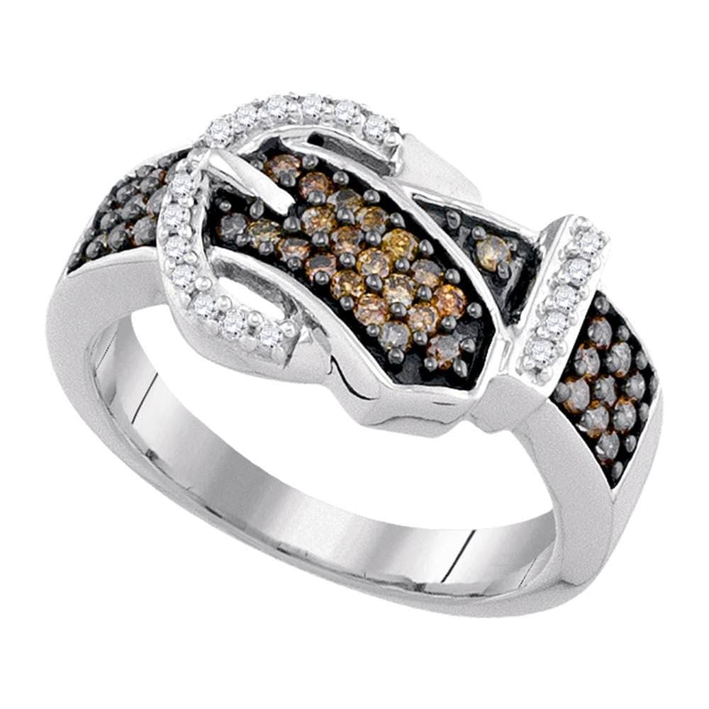 10kt White Gold Womens Round Brown Color Enhanced Diamond Belt Buckle Band Ring 1/2 Cttw