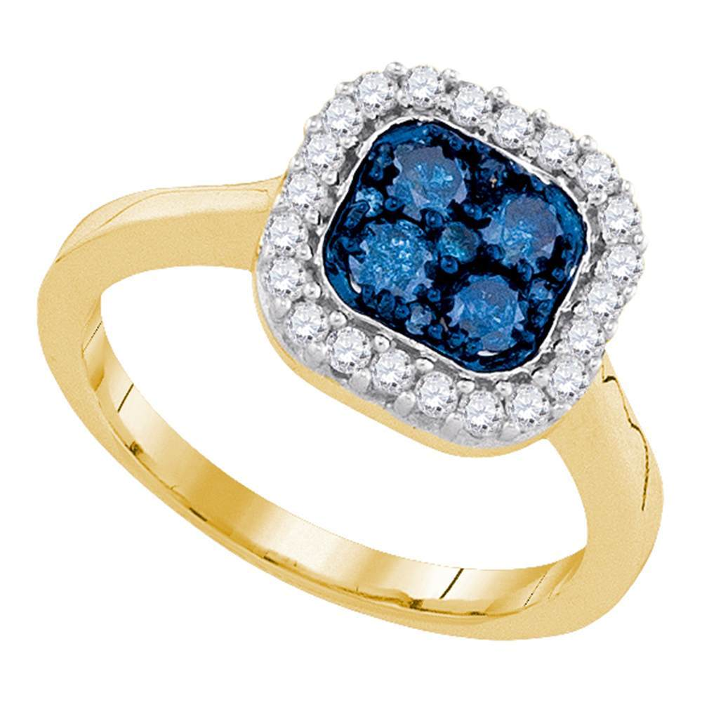 10kt Yellow Gold Womens Round Blue Color Enhanced Diamond Square Frame Cluster Ring 3/4 Cttw