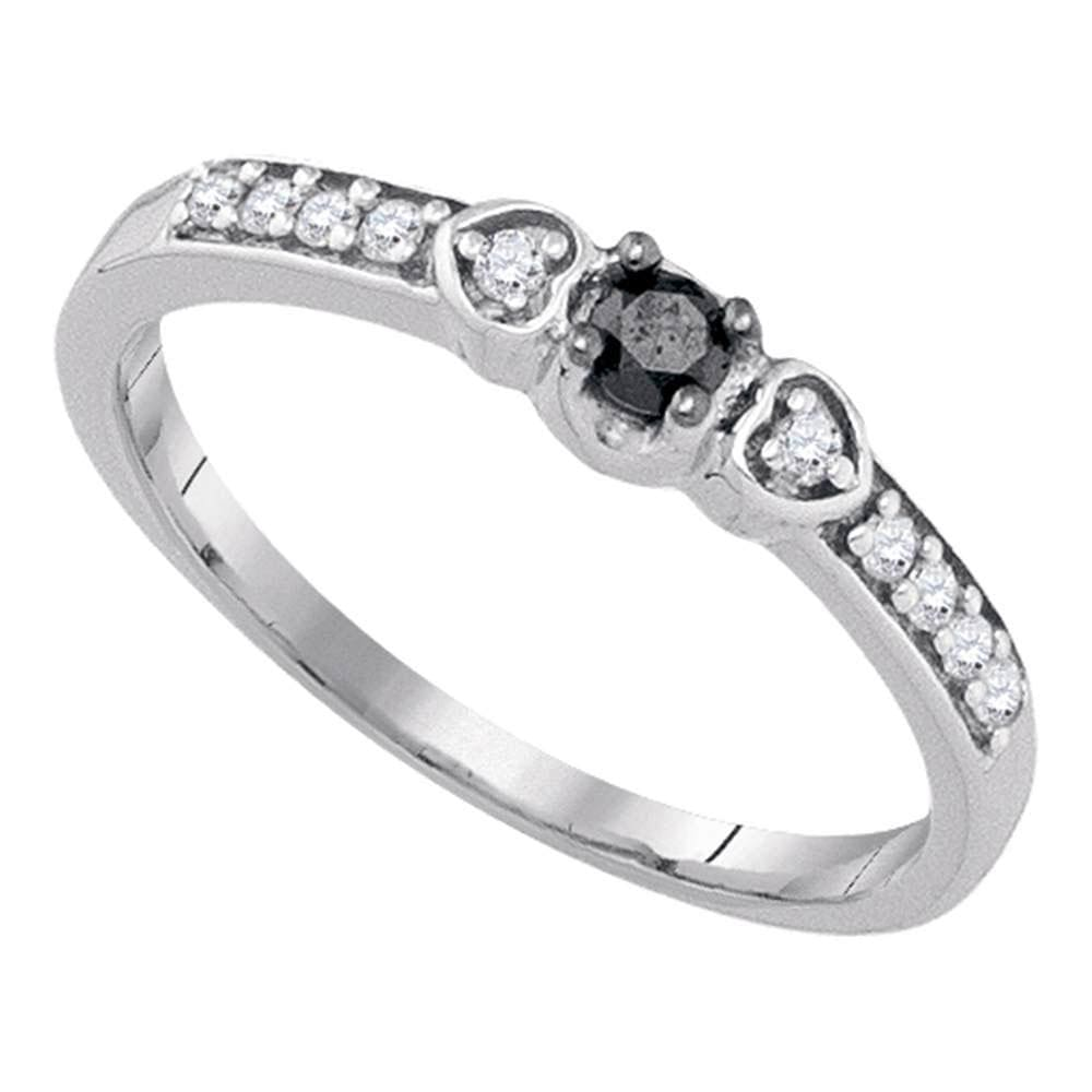 10kt White Gold Womens Round Black Color Enhanced Diamond Solitaire Bridal Wedding Engagement Ring 1/5 Cttw