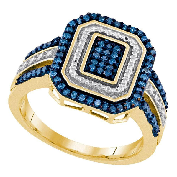 10kt Yellow Gold Womens Round Blue Color Enhanced Diamond Rectangle Cluster Ring 1/3 Cttw