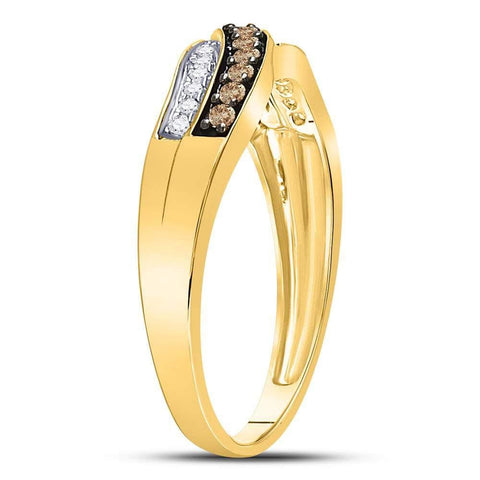 10kt Yellow Gold Womens Round Cognac-brown Color Enhanced Diamond Band Ring 1/4 Cttw