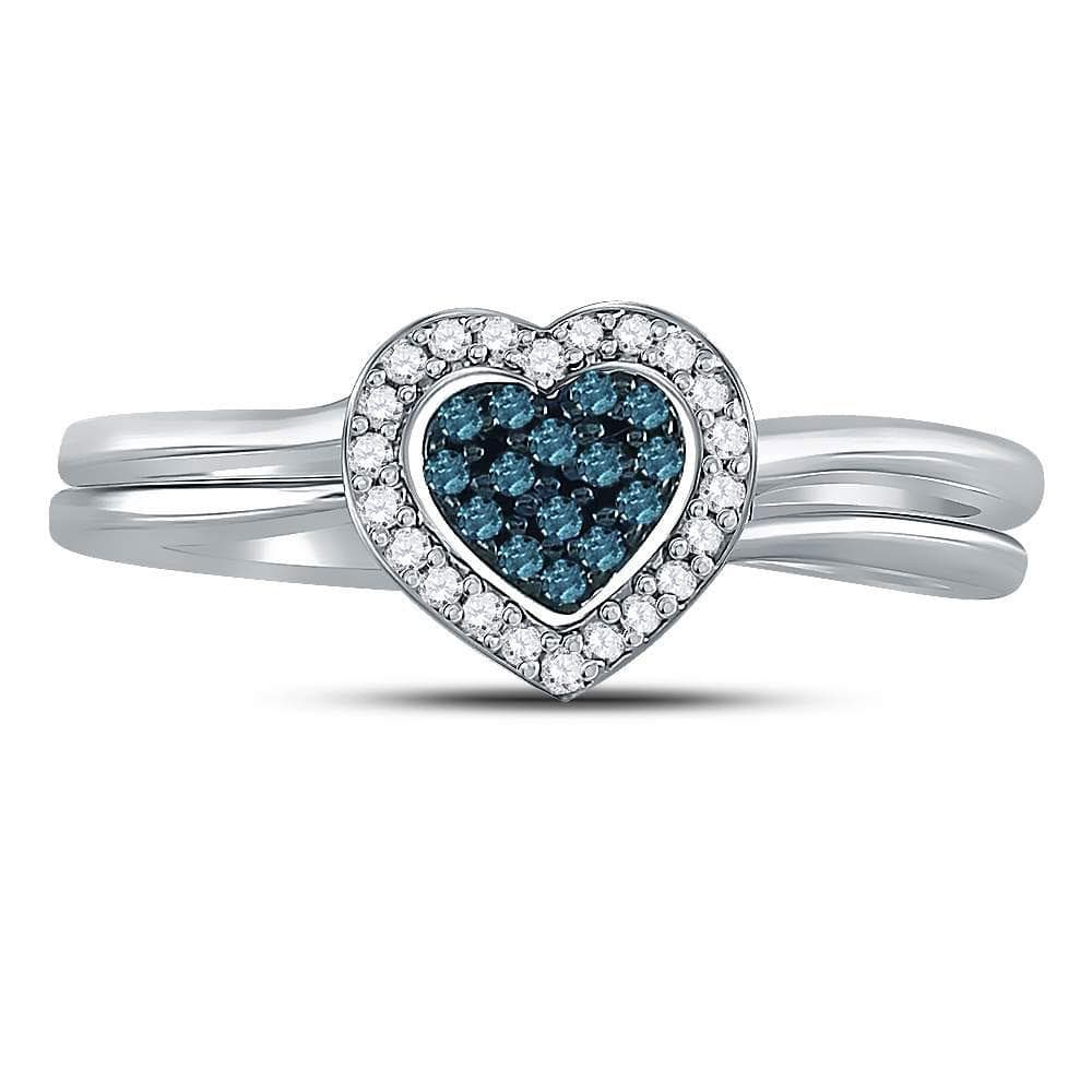 Sterling Silver Womens Round Blue Color Enhanced Diamond Heart Bridal Wedding Set 1/8 Cttw